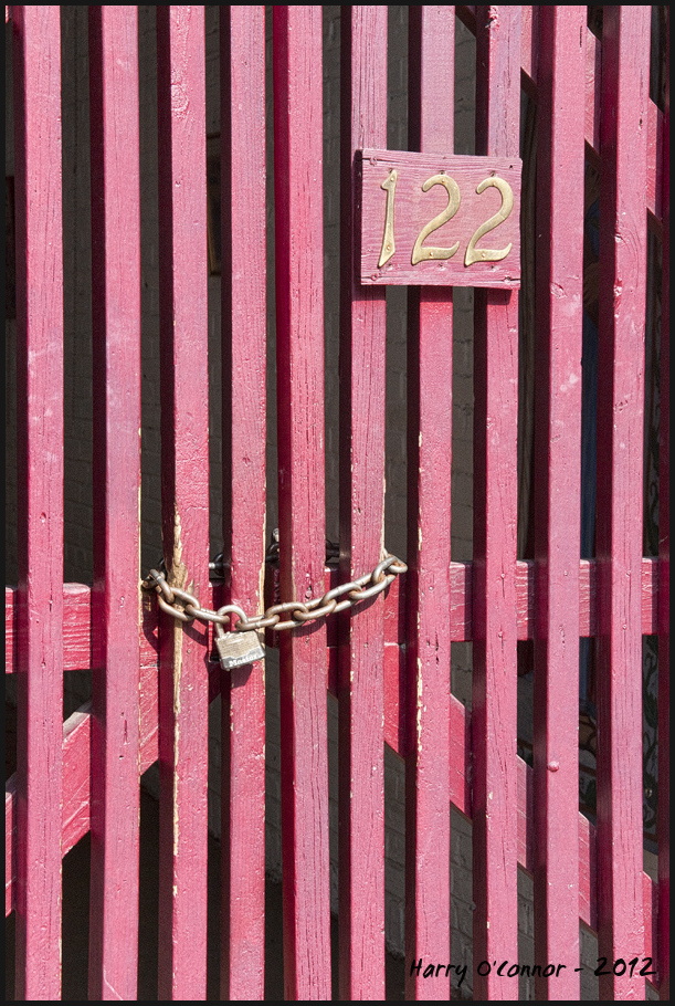 Locked red gate