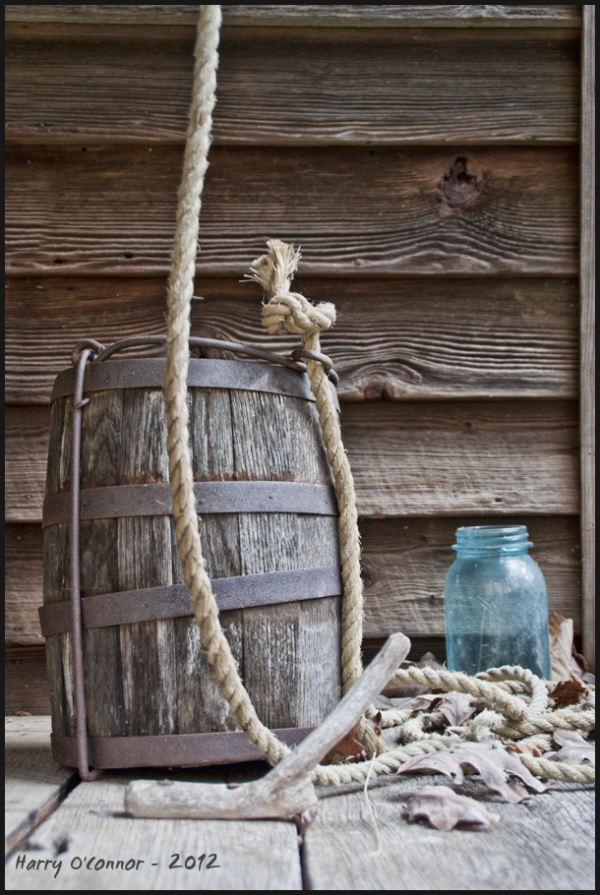 Wooden bucket and Ball jar at Hart Square