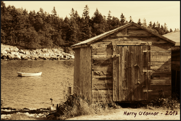 Fishing shack and dinghy