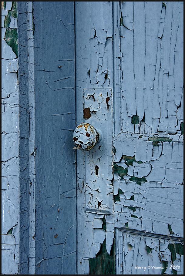 Blue doorknob