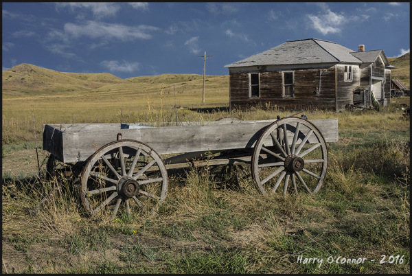 wagon and farmstead