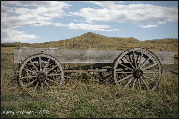 Wagon and hills