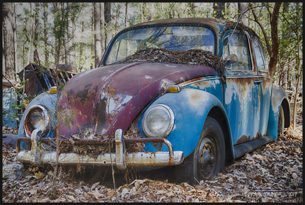 Blue and rust VW