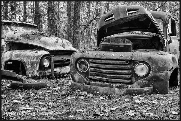 Two wrecked Fords
