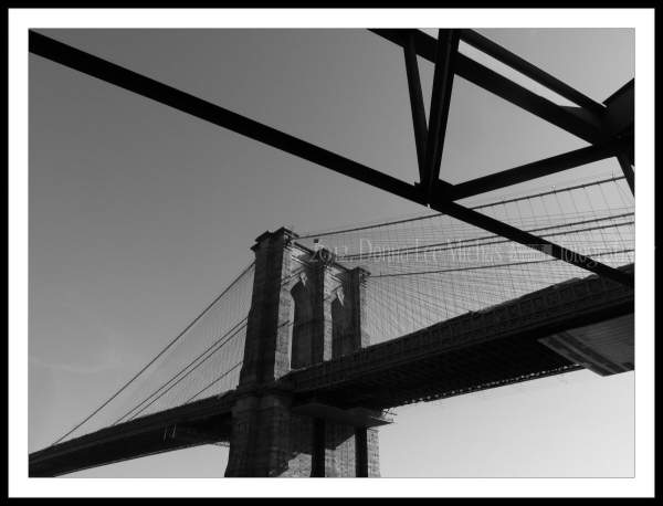 The Brooklyn Bridge, through temorary scaffolding.