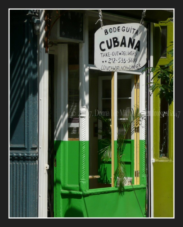 Noirish shot of Cuban café in the East Village.