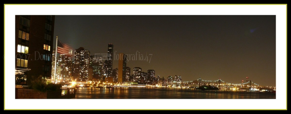 Night view of the UN and the 59th Street Bridge.