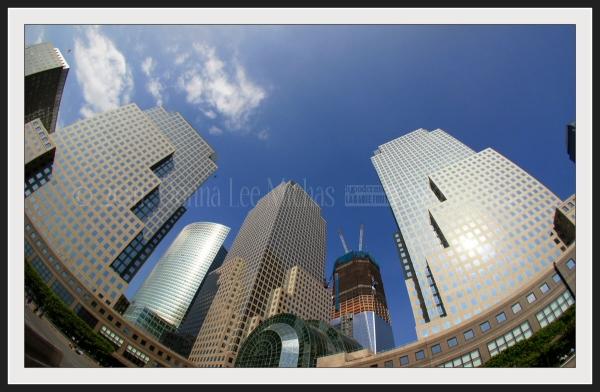 Fisheye view of the World Trade Center rebuilding.