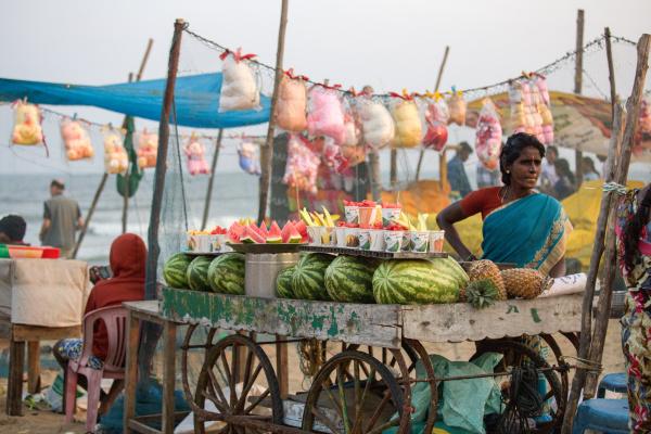 Le marché sur la plage.