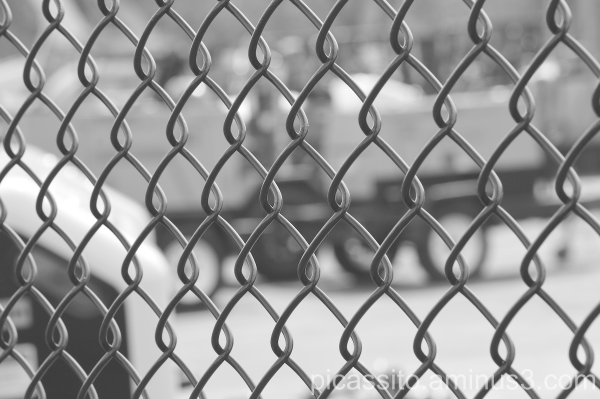 Black and White Industrial Fence
