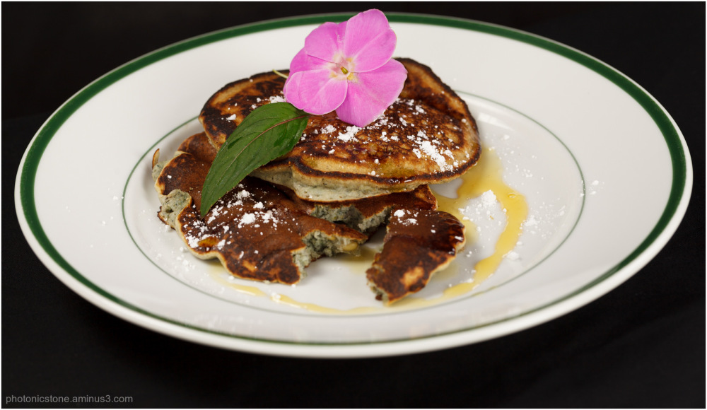 Blue Maize and Piñon Pancakes with Agave Syrup