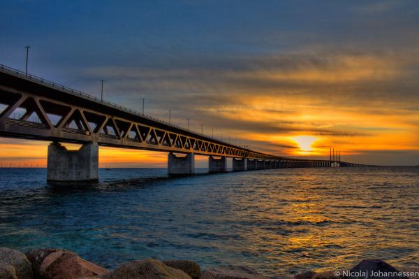 Sunset at The Sound Bridge Öresundsbron