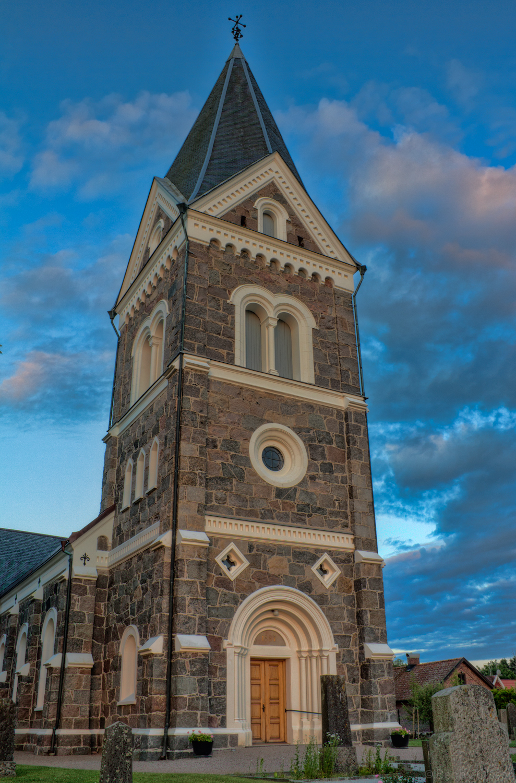 The church in Södra Rörum just before sunset