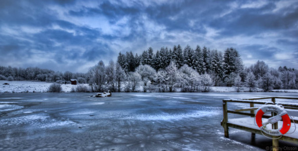 ice lake in winter