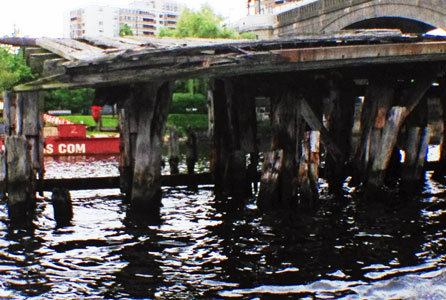 Abandoned pier in the Charles River