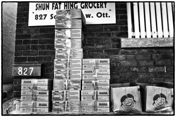 A tower of cardboard boxes in Chinatown, Ottawa