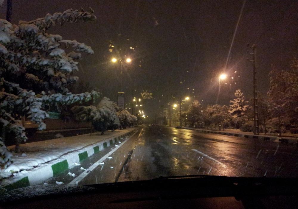 دانه های برف در شب