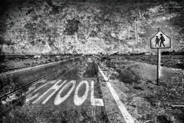 A school crossing in a ghost town