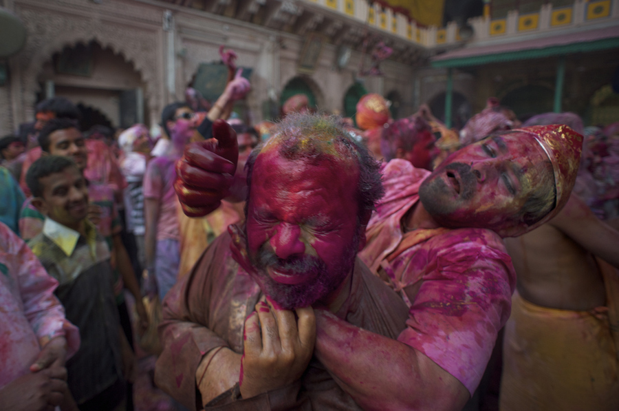 In the excitement of holi.