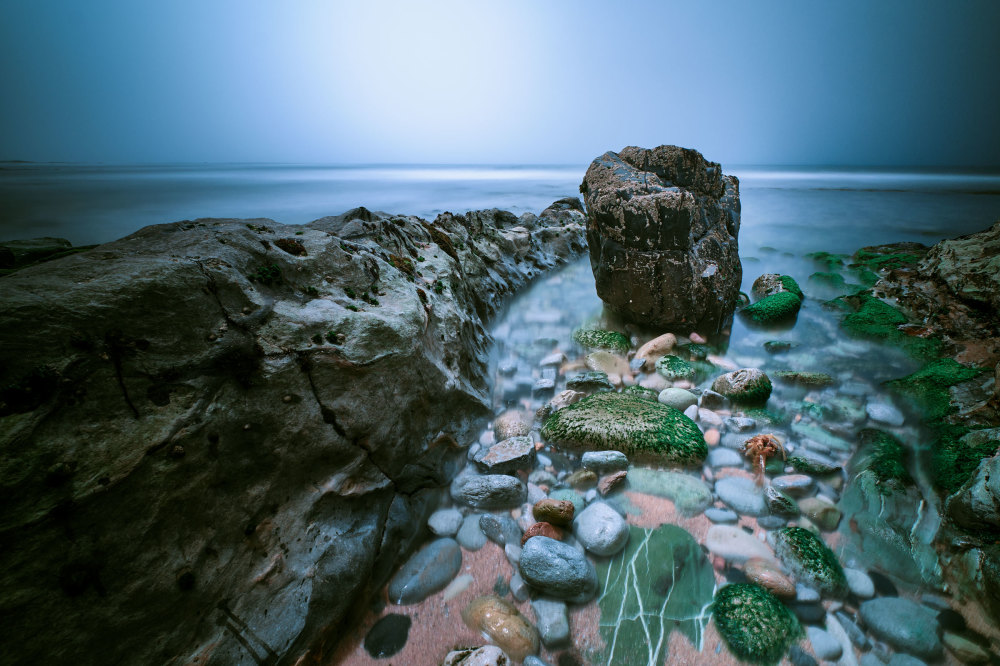 Long exposure of a stone in Ericeira Beach