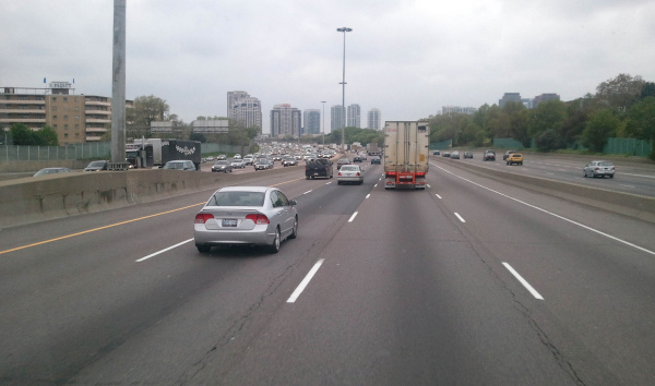 Rush hour in Toronto on the King's Highway 403
