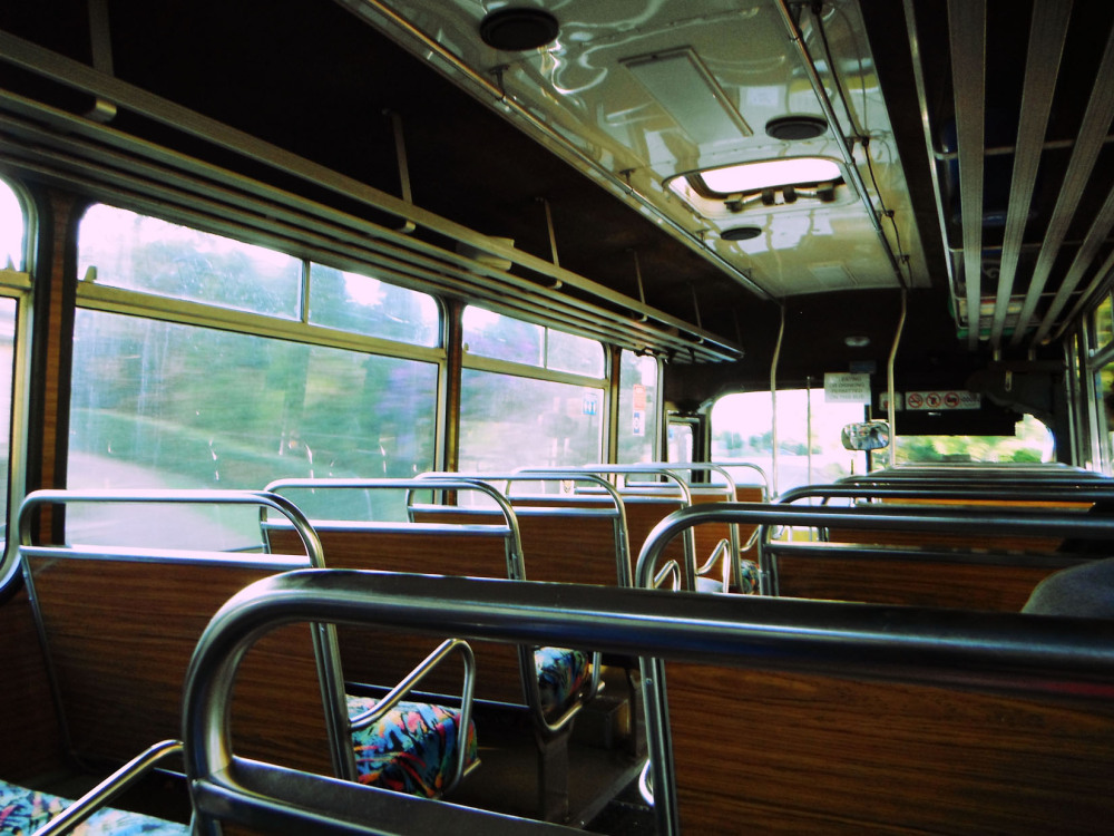 empty bus seats on the way to school
