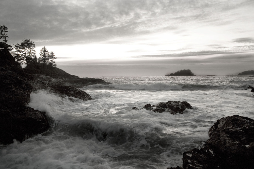 Waves crashing in Tofino BC