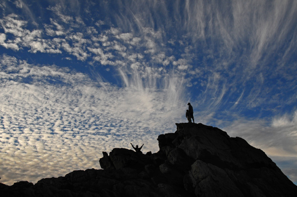 sky clouds silhouettes rocks