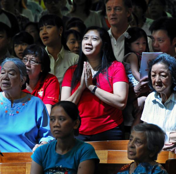 church prayer woman