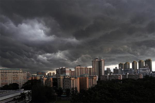 rain clouds storm city
