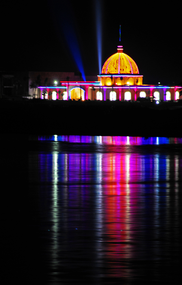 building casino river Mekong lights reflections