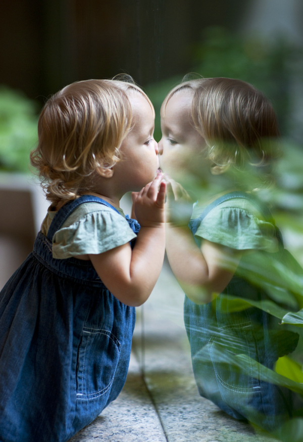 child girl play reflection kiss