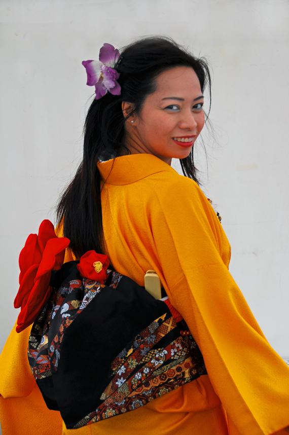 lady kimono yellow