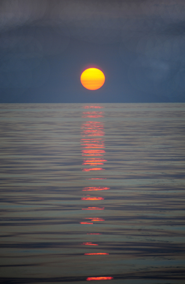 sunset sea reflection sky