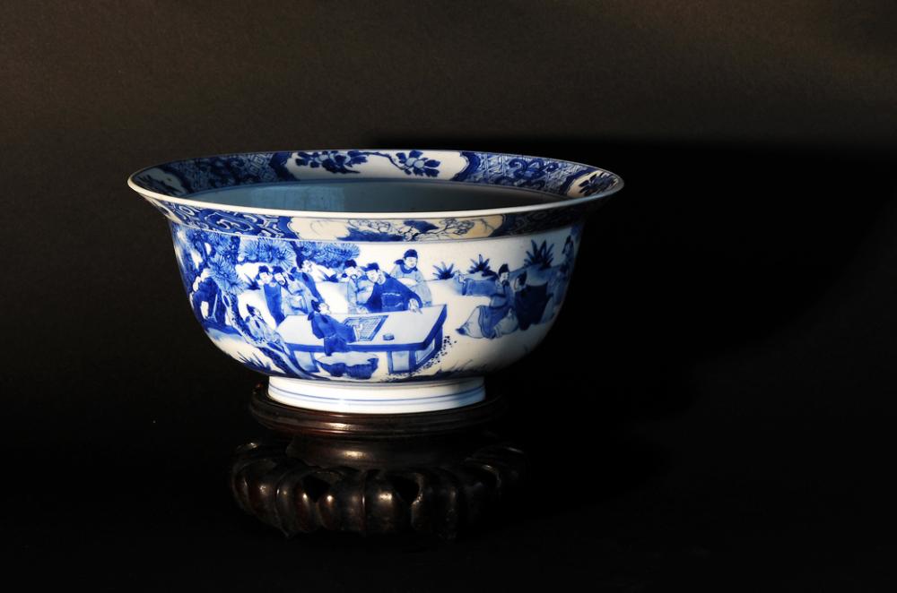 bowl blue&white porcelain scholars painting