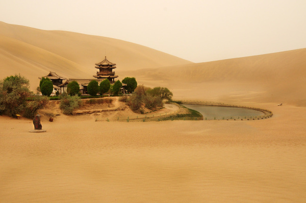 crescent moon lake spring desert Dunhuang