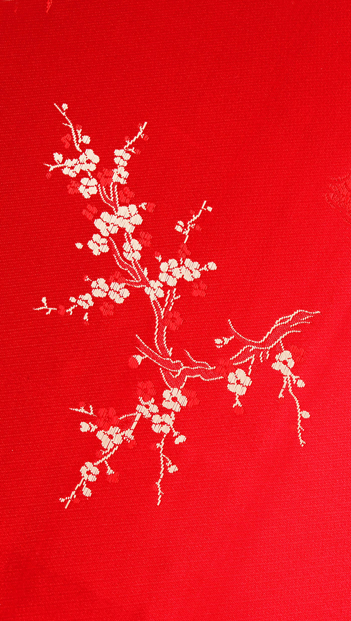 Plum Blossoms in Auspicious Red