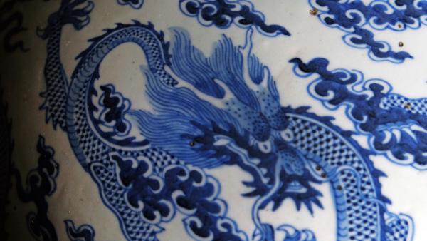 Dragon on Porcelain Vase