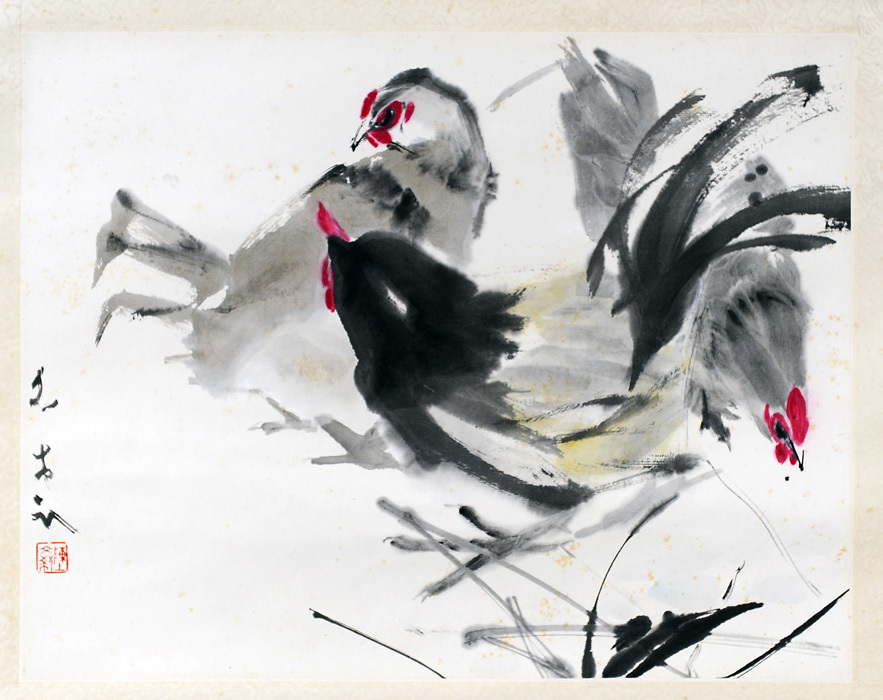 Chen Wen Hsi Painting - Rooster & Hens