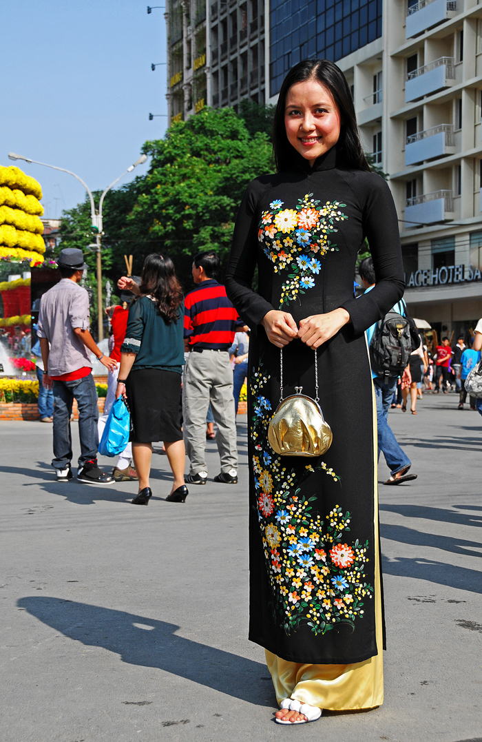 Vietnamese Lady in a Black Ao-Dai