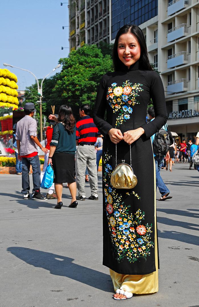 Vietnamese Lady in a Black Ao-Dai