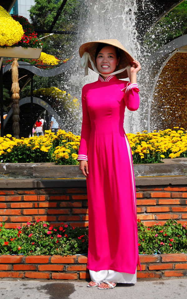 Vietnamese Lady in Pink Ao-Dai
