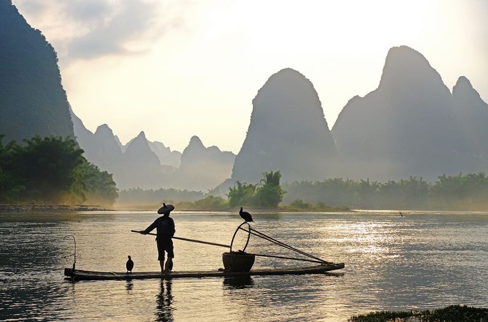 Fisherman on the Lijiang River, Guangxi, China