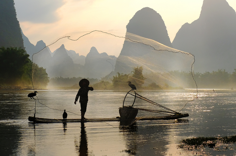 Fisherman Casting the Net