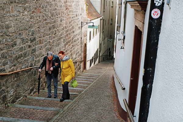 A steep climb - in Basel Old Town