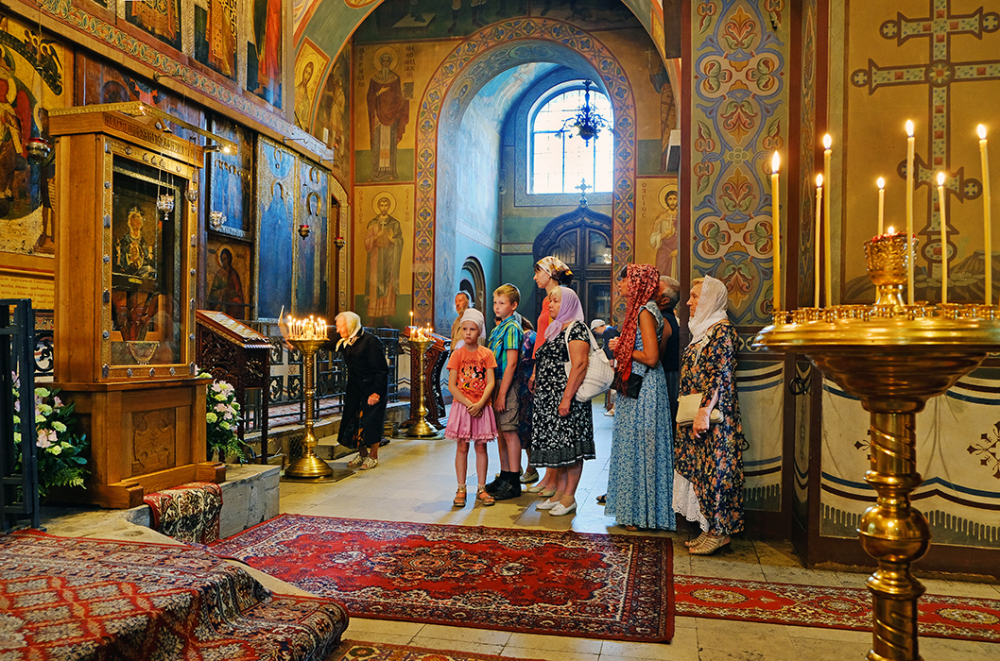 In a Russian Orthodox Church, St Sophia at Novgoro