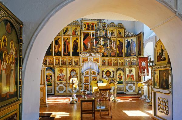 Interior of a Russian Orthodox Church in Yaroslavl