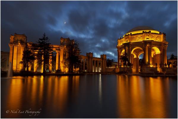 palace of fine arts, san francisco, crescent moon