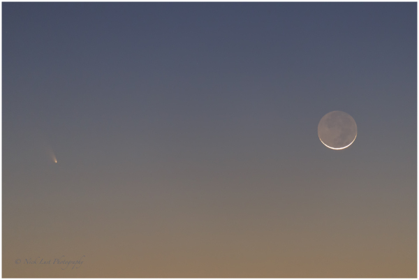PanSTARRS, crescent moon, sunset, fremont's peak