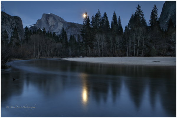 Yosemite, half dome, camp 6, moon rise, moonburst